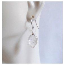Carved Rock Crystal Quartz Dangle Drop earrings- Wedding Jewelry- Bridal Accessories- Bridal Jewelry