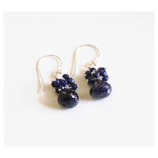 September Birthstone Earrings- Birthstone Jewelry - Dark Blue Sapphire Dangle Drop Earrings -Cluster Earrings- Blue earrings.