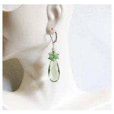 Green Amethyst Quartz and Chhrysoprase Cluster dangle Drop Earrings- Green earringsDangle Earrings- Cluster Earrings