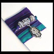 Hand Dyed Silk Ribbon Wrap Bracelet/ Necklace/Anklet- Wrap Bracelet -Purple , Teal Blue Bracelet-Charm Bracelets