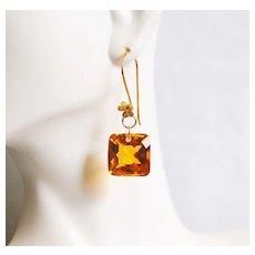 Top Grade 30.10 ct.Orange Citrine Dangle Drop Earrings- Fine Jewelry-Wedding Jewelry- Bridal Jewelry -Bridal Accessories- Citrine Earrings
