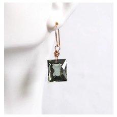 Green Amethyst Dangle Drop Earrings- Fine Jewelry-Wedding Jewelry- Bridal Jewelry -Bridal Accessories- Mother's Day
