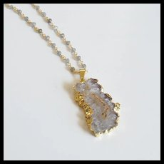 Druzy Necklace -Amethyst Stalactite 24K Gold Plated Druzy Pendant With Labradorite Rosary Chain- - Pendant Necklace -Mother's Day