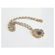 Amethyst Stalactite 24K Gold Plated Druzy Pendant With Labradorite Rosary Chain- Druzy Necklace- Pendant Necklace -Mother's Day