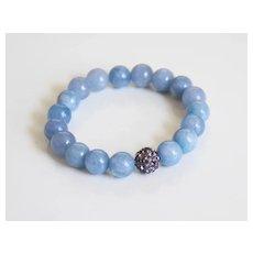 Natural Aquamarine Bracelet- Beaded Bracelet- Stretch Bracelet- Women's Bracelet- Mother's Day Bracelet- For her- For Mom-Gift Ideas