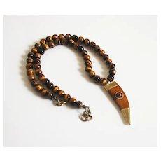 Tibetan Horn Pendant-Tiger Eye Necklace- Brown Carved Bone Horn Pendant -Men's Necklace- Men's Jewelry- Beaded Necklace-Pendant Necklace