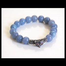 Natural Aquamarine Bracelet With Rhinestone Slider- Beaded Bracelet- Stretch Bracelet- Women's Bracelet- Blue Bracelet-Handmade Bracelet
