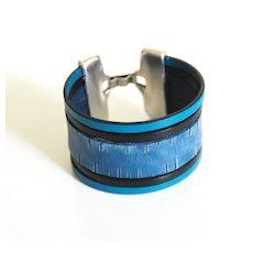 Denim Engraved Leather Cuff Bracelet- Unisex Bracelet- Cuff Bracelet- Multi Strand Bracelet- handmade Bracelet -For Men And Women