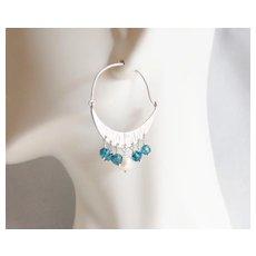 Chandelier Earrings- Cultured fresh water pearl and London Blue quartz chandelier earrings- Dangle Drop Earrings- Blue Earrings