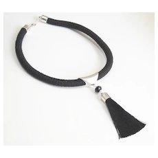 Rope Necklace - Tassel Necklace- Black rope necklace- Statement necklace-Cord necklace- Rope Jewelry -Tassel jewelry- Black Necklace-for her