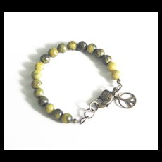 Russian Obsidian  and Yellow serpentine  Bracelet-Mens bracelet