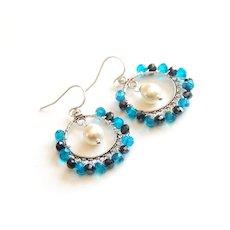 Chandelier Hoop earrings -Hoop Earrings- London blue Quartz, Black Mystic Pyrite and Swarovski Pearl Earrings- Mother's Day