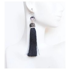 Tassel Jewelry-Tassel Earrings.Silk Black And Blue Tassel Earrings- Tassel Dangle Drop Earrings- Statement Earrings