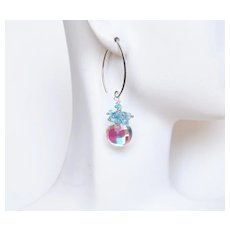 Cluster Earrings- Dangle Earrings-Apatite And Fire Rainbow Moonstone Quartz Dangle Drop Earrings- Wedding Jewelry