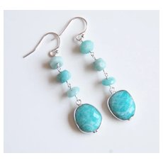 Amazonite earrings- Amazonite Dangle Drop Earrings- Green earrings - Amazonite Jewelry- Mother's Day