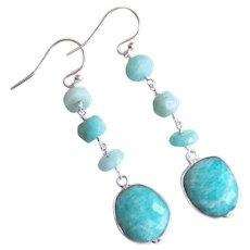 Amazonite earrings- Amazonite Dangle Drop Earrings- Green earrings - Amazonite Jewelry- Mother's Day