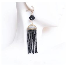 Tassel Earrings- Black Beaded Tassel Earrings- Tassel Jewelry- Black earrings- statement Earrings-Dangle Earrings