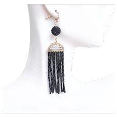 Tassel Earrings- Black Beaded Tassel Earrings- Tassel Jewelry- Black earrings- statement Earrings-Dangle Earrings