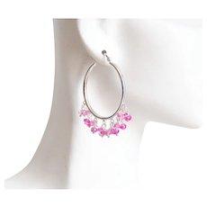 Hoop Earrings- Ruby Earrings With Hoop- Birthstone Earrings- Pink Hoop Earrings- Hoop Jewelry- Sterling Silver Hoop Earrings With Ruby-Gift