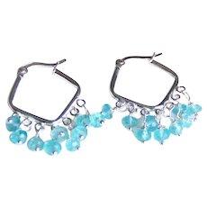 Topaz Hoop Earrings- Blue Topaz Hoop Earrings -Hoop Earrings- Blue Hoop Earrings- Hoop Jewelry- Sterling Silver Hoop Earrings-Dangle Earring