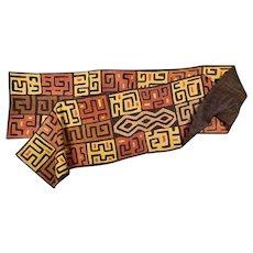 "Vintage 16+ Foot Handwoven Kuba Cloth Panel-African Art-From Kathryn Hepburn Estate-196"" x 26""-Wall Hanging/Rug/Fashion"