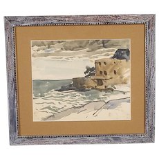 "Original Signed/Dated/Titled Watercolor-Listed American Artist-French Coastal View-""Cassis"" c.1931"