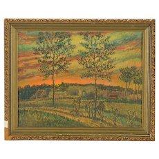 Original Signed Vintage Impressionist Oil/Board By Listed American Artist R. Lahmann-Pastoral Landscape At Sunset