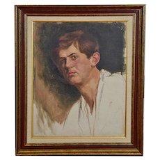 Original Vintage Oil/Canvas By Anne Fleckenstein-Portrait Of A Young Man