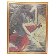"Original Signed Vintage Mid 20th C. Experssionist Oil on Board-""Carmen Dying""-Listed U.S. Artist Frank Stanley Herring"