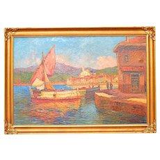 Original Signed Vintage Impressionist Oil/Canvas-Wisconsin Artist-Nautical Scene