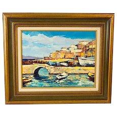 Original Vintage Signed/Dated Oil On Canvas-Greek Island Harbor c.1980