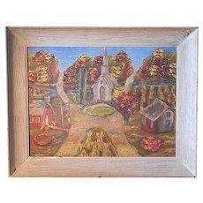 Original Vintage Signed Folk Art Oil On Board-Village Scene-American Artist-C. Harris-Framed