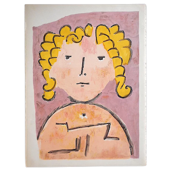 """Vintage Mid 20th C. Lithograph From Verve-""""Tete D'Enfant"""" by Paul Klee"""