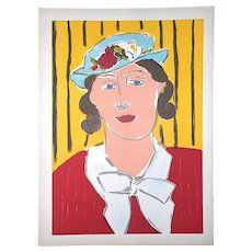 Vintage Mid 20th C. Lithograph From Verve-Female Portrait By Henri Matisse