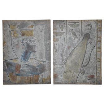 A Pair-Two Vintage Mid 20th C. Lithographs From Verve-Ancient Egyptian Bas Relief Heads