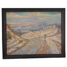 Original Signed Vintage Impressionist Oil/Board-Listed American Artist- Landscape at Sunset-Framed