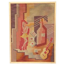 Original Mid 20th Century Cubist Tapestry-Hand Woven-Cuba-Framed-Circa 1950's