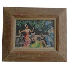 """Original Signed Vintage Watercolor & Gouache Painting """"South Seas Dancers"""""""