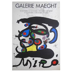 Vintage Mid 20th C. Lithograph-Full Size Poster-Signed-Joan Miro