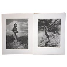 Vintage Ltd. Ed. Silver Gelatin Photographs-Listed German Photographer-Female Nudes-A Pair-1938-Folio Size