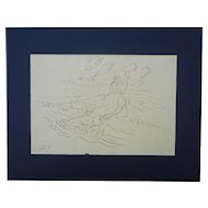 Original Mid 20th Century Signed Drawing=David Fredenthal-Listed U.S. Artist