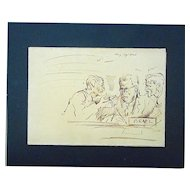 Original Mid 20th Century Drawing-D. Fredenthal-Listed American Artist-Suez Crisis-Judaica
