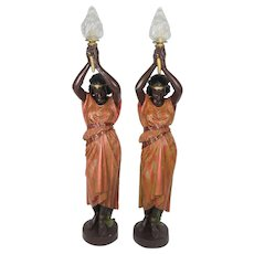 Life Size Antique Torcheres-Polychromed Metal Nubian Maidens-A Pair