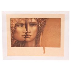 "Vintage Jean Paul Cleren Limited Edition Lithograph-""Double Visage""-Pencil Signed/Numbered"