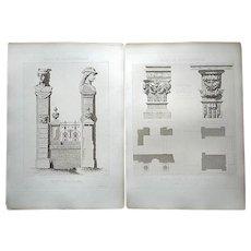Antique 19th C. Architectural Engravings-A Pair-Palais de Fontainebleau-Architectural Details-Large Folio