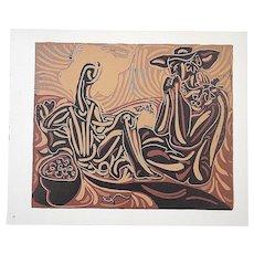 """Vintage Mid 20th C. Limited Edition Picasso Lithograph-""""Les Vendangeurs"""""""
