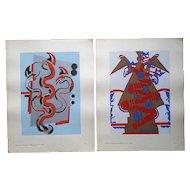 Vintage Serge Gladky Ltd. Ed. Pochoir Print-Abstracted Animals-A Pair-c.1928