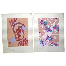 Vintage Serge Gladky Ltd. Ed. Pochoir Prints-Abstracted Animals-A Pair-c.1928