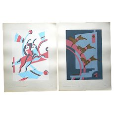 Vintage Serge Gladky Ltd. Ed. Pochoir Print-Abstracted Animals-A Pair-c.1928