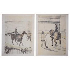 58: A Pair-Vintage Mid 20th C. Ltd. Ed. Toulouse Lautrec Lithographs-The Circus-Printed by Mourlot